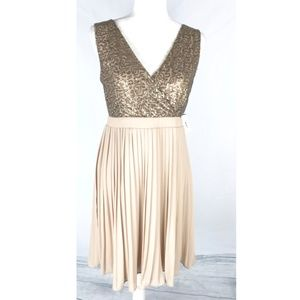 Womens Nude Gold Sequin Pleated Dress